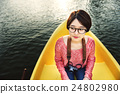 Girl Adventure Boat Trip Traveling Holiday Photography Concept 24802980