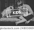 Dog Boy Bonding Kids Concept 24803069