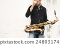 Jazzman Musical Artist Playing Saxophone Concept 24803174