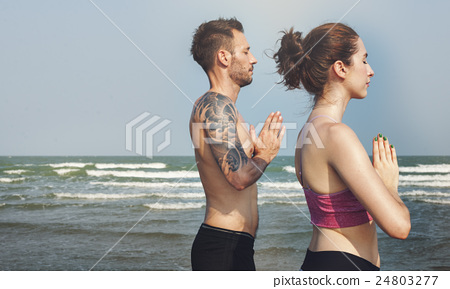 Yoga Exercise Active Beach Outdoor Concept 24803277