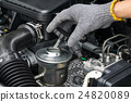 A mechanic is opening the oil cap  24820089