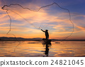 Fisherman silhouette on boat. 24821045