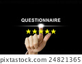 business hand pushing questionnaire on screen 24821365