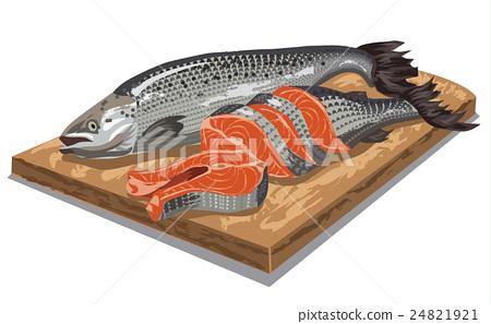 sliced salmon fish 24821921