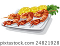 grilled shrimps on skewer 24821928
