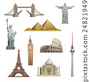 different famous landmarks 24821949