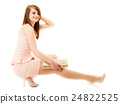 Full length of girl in pink dress and with handbag 24822525