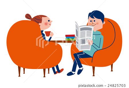 坐在椅子和放鬆的男性和女性夫婦 24825703
