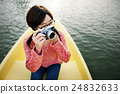 Girl Adventure Boat Trip Traveling Holiday Photography Concept 24832633