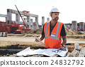 Construction Worker Planning Contractor Checking Concept 24832792