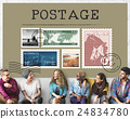 Postage Letter Parcel Stamp Mail Graphic Concept 24834780