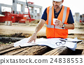 Single Working Man Outdoors Construction Concept 24838553