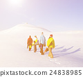 Group of Snowboarders Enjoying a Beautiful Winter Morning 24838985