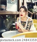 Girl Tattoo Juice Solitude Relaxation Summer Concept 24843359