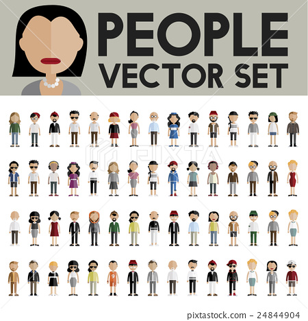 Diversity Community People Flat Design Icons Concept 24844904