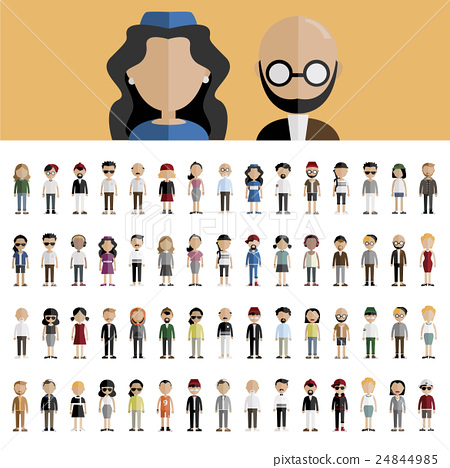 Diversity Community People Flat Design Icons Concept 24844985