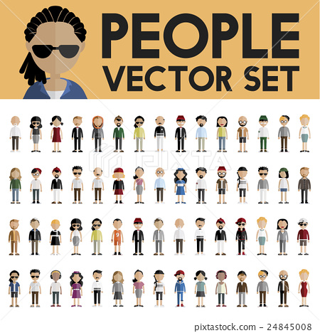 Diversity Community People Flat Design Icons Concept 24845008