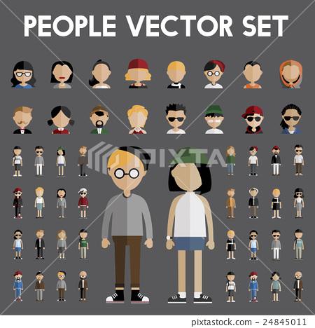 Diversity Community People Flat Design Icons Concept 24845011