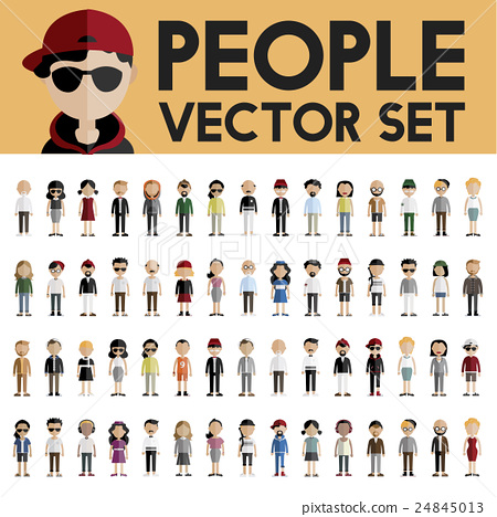 Diversity Community People Flat Design Icons Concept 24845013