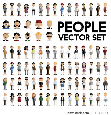 Diversity Community People Flat Design Icons Concept 24845023
