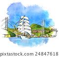 長崎港 水手 帆船 24847618