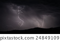 Lightning strike over mountain range with clouds 24849109