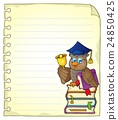 Notebook page with owl teacher 4 24850425