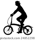 Silhouette of a cyclist girl. vector illustration 24852298