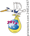 White stork carrying New Year 24852497