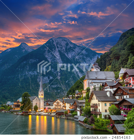 Hallstatt village in Alps and lake,  Austria 24854163