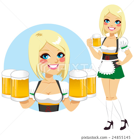 Oktoberfest Waitress Holding Beer 24855145