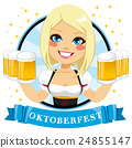 Waitress Holding Six Beer Mugs 24855147