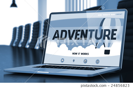 Adventure on Laptop in Conference Room. 3D 24856823