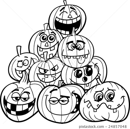halloween pumpkins coloring page Stock Illustration 24857048