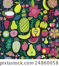 Fruit doodles seamless vector pattern. Hand drawn 24860058