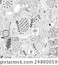 Fruit doodles seamless vector pattern. Hand drawn 24860059