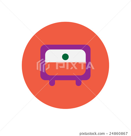 Vector icon on the white backgrounds in circles tv 24860867