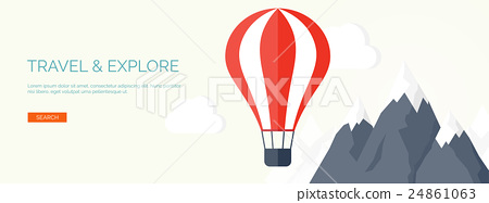 Flat air balloon. Travel, explore. 24861063