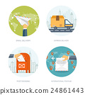 Vector illustration. Flat background with envelope 24861443