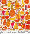 Fruit doodles seamless vector pattern. Hand drawn 24861706