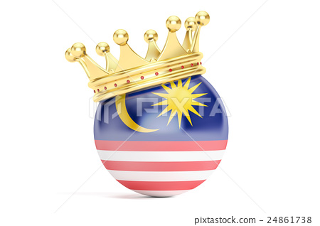 Crown with flag of Malaysia, 3D rendering 24861738