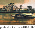 ferry carries passengers on river 24861887