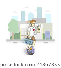 Man riding monowheel, cartoon vector. 24867855
