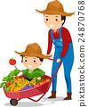 Stickman Family Boy Dad Farmer Harvest 24870768