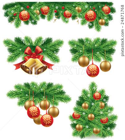 merry christmas decorations background - stock illustration