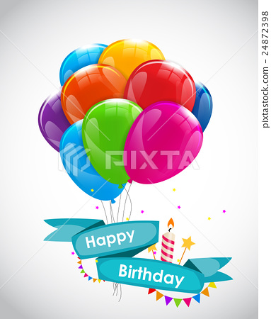 Happy Birthday Card Template with Balloons, Ribbon 24872398