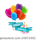 Happy Birthday Card Template with Balloons, Ribbon 24872402