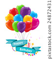 Happy Birthday Card Template with Balloons, Ribbon 24872431