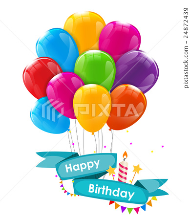 Happy Birthday Card Template with Balloons, Ribbon 24872439