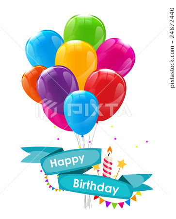 Happy Birthday Card Template with Balloons, Ribbon 24872440